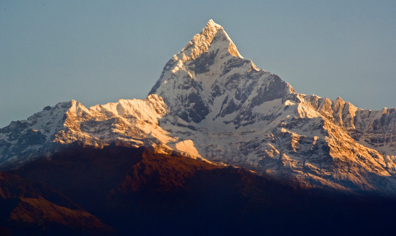 VIEW FROM POKHARA AT THE ANAPURNA. HIMALAYA.