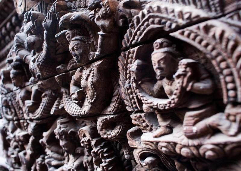 WOOD CARVING. KUMARI PALACE. KATHMANDU. NEPAL.