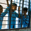 NEPALSE SCHOOL CHILDREN IN BLUE UNIFORMS. CHITWAN. NEPAL.