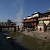 VIEW AT THE ARYA GHATS (BURNING GHATS FOR CREMATION) ON THE BANK OF THE BAGMATI RIVER. PASHUPATINATH. KATHMANDU. NEPAL.