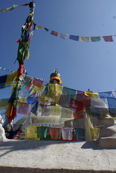 PRAYER FLAGS AT THE BODNATH STUPA.  [BOUDHA.] KATHMANDU.