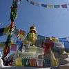 PRAYER FLAGS AT THE BODNATH STUPA.  [BOUDHA.] KATHMANDU.