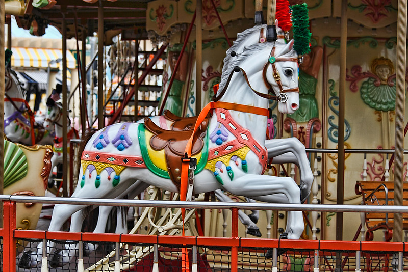 Merry-go-round character horse...Wildwood boardwalk amusement park, Wildwood, New Jersey-June 08, 2014