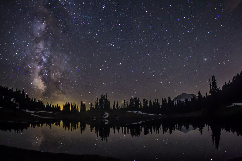 Milky way and Mount Rainier at Tipsoo Lake