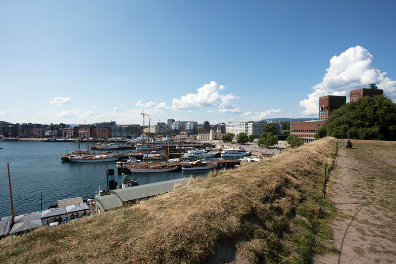 OSLO. VIEW AT TOWN HALL AND HARBOUR FROM AKERSHUS FORTRESS. [2]