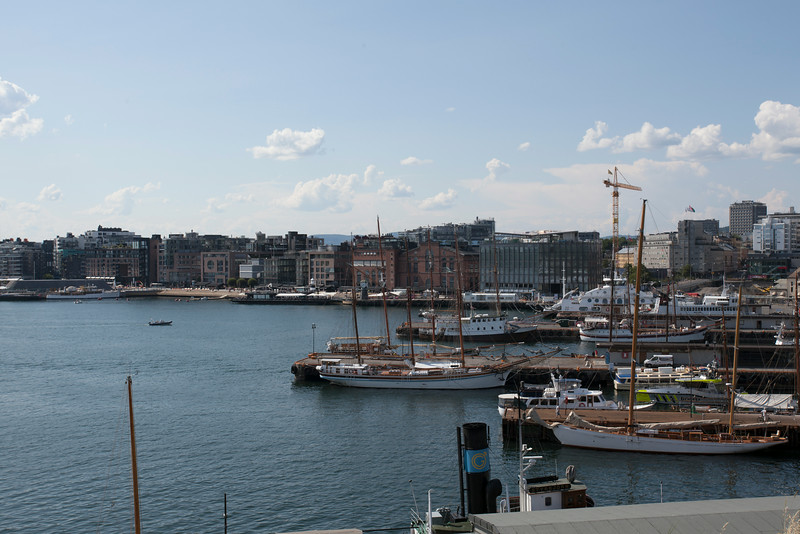 OSLO. VIEW AT THE HARBOUR FROM AKERSHUS FORTRESS.