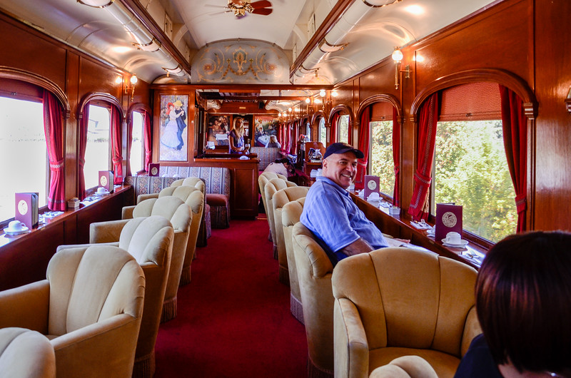 Relax in the Merlot Lounge car, one of the 1915 Pullmans