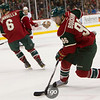 Minnesota Wild center Pierre-Marc Bouchard (96) brings the puck around to initiate the offense in the first period of the hockey game between the Red Wings and the Wild at the Xcel Energy Center in St. Paul Minnesota. The Wild led the game 1-0 in the first period and The Red Wings went on to win 3-2 in overtime.