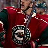 Minnesota Wild defenseman Marco Scandella (6) during a timeout in the hockey game between the Detroit Red Wings and the Minnesota Wild at the Xcel Energy Center in St. Paul, Minnesota. The Red Wings won the game 3-2 in overtime.
