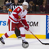 Detroit Red Wings captain defenseman Nickas Lidstrom (5) advances the puck in the second period of the hockey game between the Detroit Red Wings and the Minnesota Wild at the Xcel Energy Center in St. Paul, Minnesota. The Wild led 2-1 after two periods and the Red Wings won the game 3-2 in overtime.