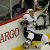 Pittsburgh Penguins right wing Richard Park (12) gets hit into the boards in the first period of a hockey game between the Penguins and Wild at the Xcel Energy Center in St. Paul Minnesota. The Penguins won the game 4-2.