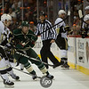 Minnesota Wild left wing Dany Heatley (15) banks the puck off the boards as the Pittsburgh Penguins look on in the second period of a hockey game between the Penguins and Wild at the Xcel Energy Center in St. Paul Minnesota. The Penguins won the game 4-2.