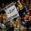 A Minnesota Wild fan is having a wild 21st birthday at hockey game between the Pittsburgh Penguins and and Minnesota Wild at the Xcel Energy Center in St. Paul Minnesota.