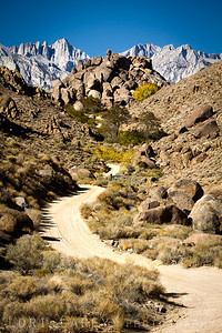 Road to Hidden Valley Ranch in Lone Pine, California with Mt. Whitney looming in the background.