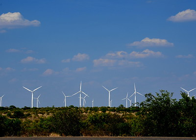 2011 - Wind power in West Texas!  Notice the big beautiful sky on this hot summer day.