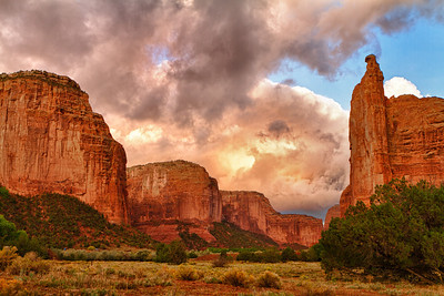 Speaking Rock in Canyon De Chelly with a morning storm rolling in