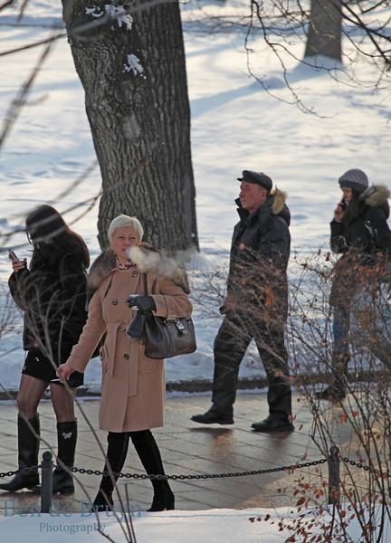 Moscow Landmark: Alexander Gardens People walking in park on winter day