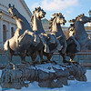 Moscow Landmark: Horse Statues, Alexander Gardens, Moscow with snow