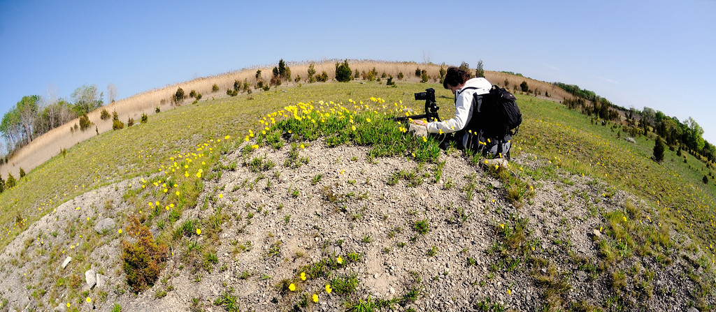 Mary at the top of the World photographing daisies!