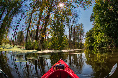 Scenic view from the kayak at Old Woman Creek