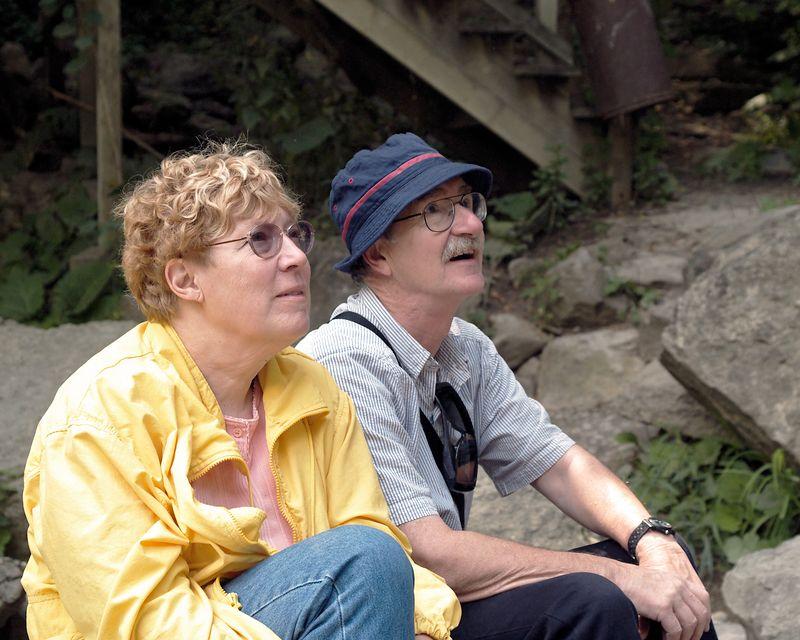 A couple enjoying the beauty of the falls.