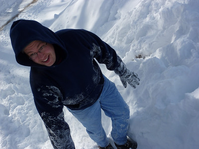 Steve summits a snow drift