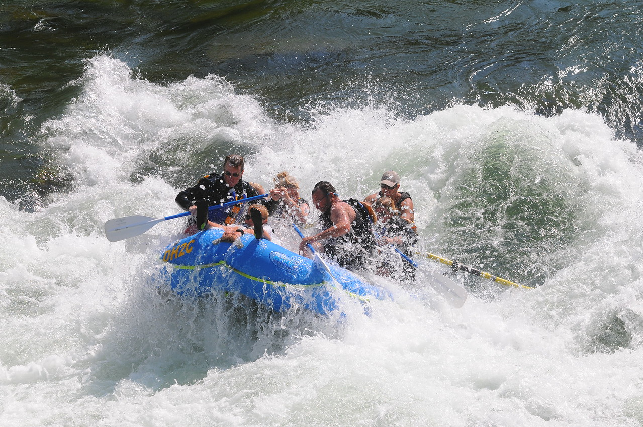 August, 2012  Heading into the Big Kahuna (Class 3) rapid on the Snake River near Jackson, WY - I'm almost covered up in the rear left of the raft, Bill is front right.  This was a thrill, and a blast!  Love whitewater rafting!!!!!!!!