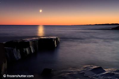 Crescent Moon Rise - Grand Marais