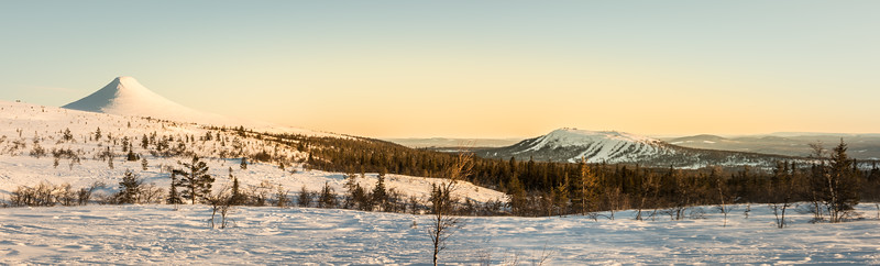 Städjan and Idre Fjäll on a panoramic sunset view
