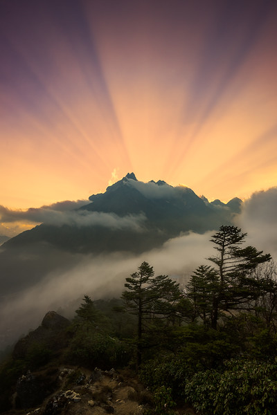 Sunset at Tengboche