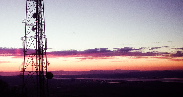 Sunset from the top of Mount Diablo, Danville, California.  The mountain has a lot of communication towers but are now removing them since technology has advanced to a point where we don't need these towers on tall mountains.