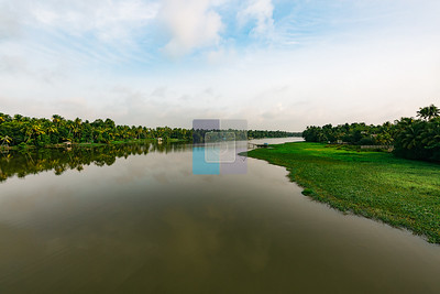 Vembanad Lake Portion Near Kothad Bridge, Kochi, Kerala - India