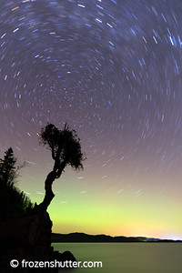 Little Spirit Cedar Tree - 15 minute exposure with star trails and northern lights.