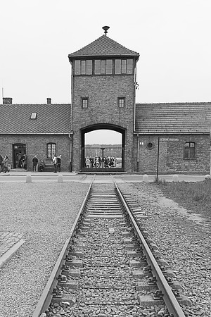 "The railcars that were ""relocating"" Jews, literally runs directly into the camp.  Evil efficiency."
