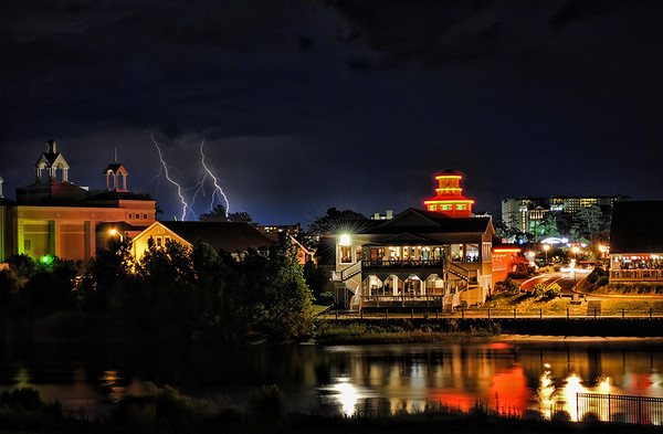Double lightning strike over some buildings and restaurants near North Myrtle Beach, SC.