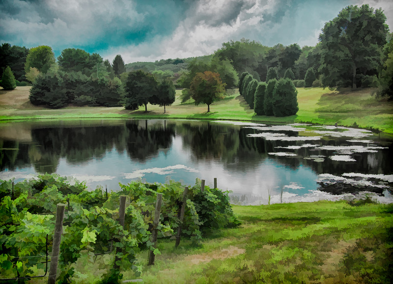 Pond at Dalice Elizabeth Winery in Preston, CT