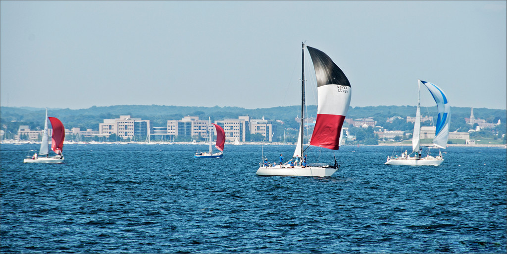 sailboats with spinnakers, Long Island Sound