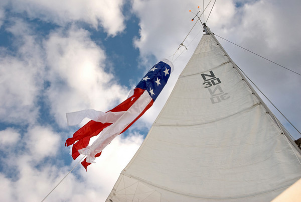 Sail with flag windsock