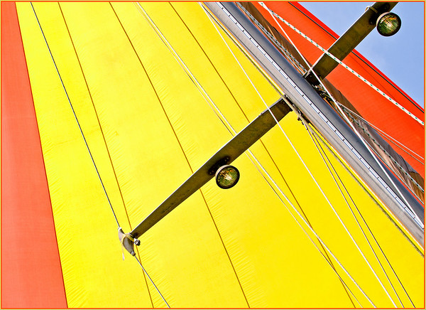 Yellow and orange of a spinnaker sail