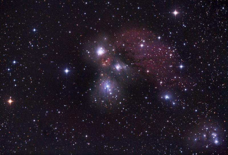 The Angel Nebula - NGC 2170, Van den Bergh 67, 68 and 69<br /> The Angel Nebula in Monoceros is a little photographed or observed area of<br /> emission and reflection nebulosity that lies just to the east of Orion's belt. This<br /> wide field view also captures NGC 2182, 2183 and 2185 below and to the right (east)<br /> of the angel figure, with its bright head, red heart, wings, and flowing robe. <br /> North is to the left in this image.<br /> Honis-modified Canon 450D through an AT8IN f/4, 8-inch Newtonian<br /> 29 subexposures totalling 2 hours and 47 minutes.<br /> Processed with Nebulosity 3.1 and PhotoShop CS5, with Carboni's Astronomy Tools.