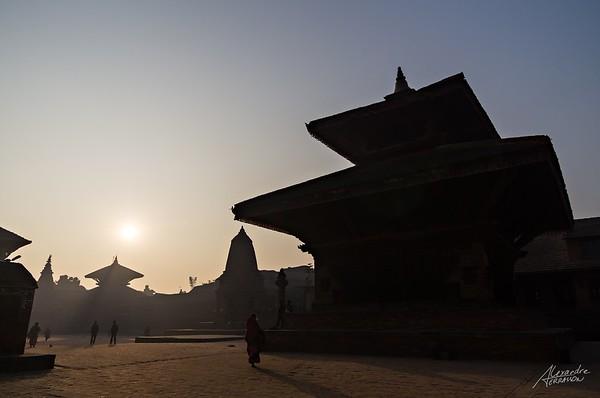 Sunrise on Bhaktapur city