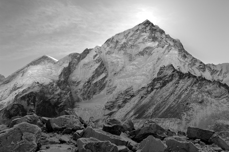 West Wall of Nuptse, Khumbu Valley - Nepal<br /> <br /> The West Face of Nuptse, part of the ring of peaks that forms the Everest cirque, stands at 7,742 meters - and has only been climbed once. In 1997 two climbers from Slovenia, Tomaz Humar and Janez Jeglic, spent four terrifying days on wall, climbing without camps in alpine-style. Once on the summit ridge, Jeglic torn from the mountain in the hurricane winds, leaving Tomaz to descend, frostbitten and weak, alone.