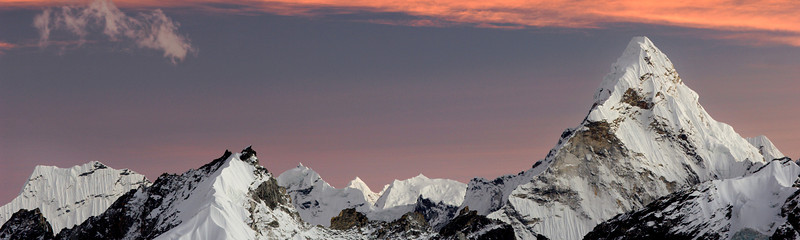 Infinite Ridges, Khumbu Valley - Nepal<br /> <br /> After the sun sets, the infinite white ridges surrounding Ama Dablam are set in the clearest sky like razor blades - serrated and sharp, ruffled with snowy skirts, even though they are miles away.