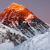 Everest at Sunset, Khumbu - Nepal<br /> <br /> Mt. Everest (29,035 ft), glows orange with the last rays of evening sunshine. Taken from Kala Patar (18,192ft), a small Himalayan foothill, the sunset provided a spectacular visual opportunity - and absolutely no additional heat. We descended in complete darkness, by headlamp.