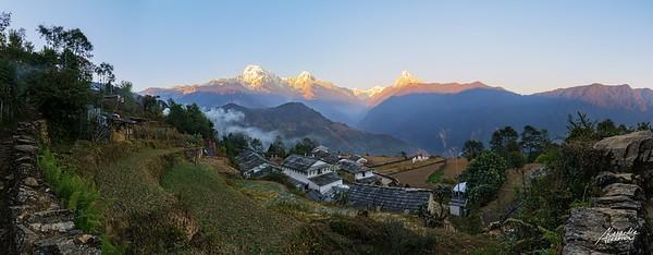 Panorama over Ghandruk and Annapurna range at sunset.