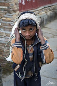 Nepalese child carrying rice