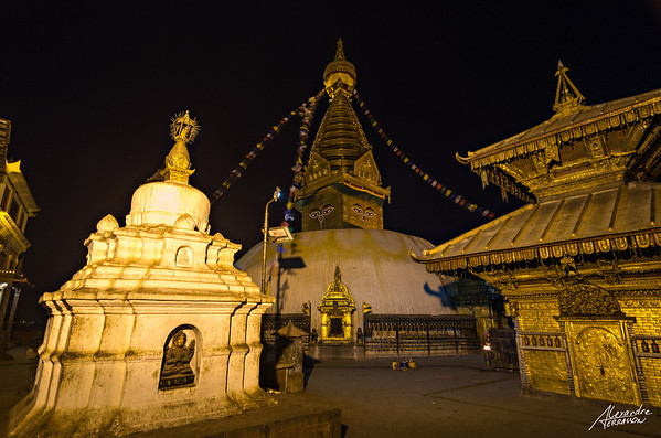 Swayambunath at night