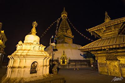 Swayambunath at night