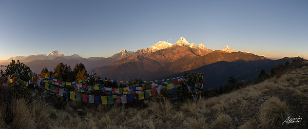 Sunset over the Annapurna from Poon Hill