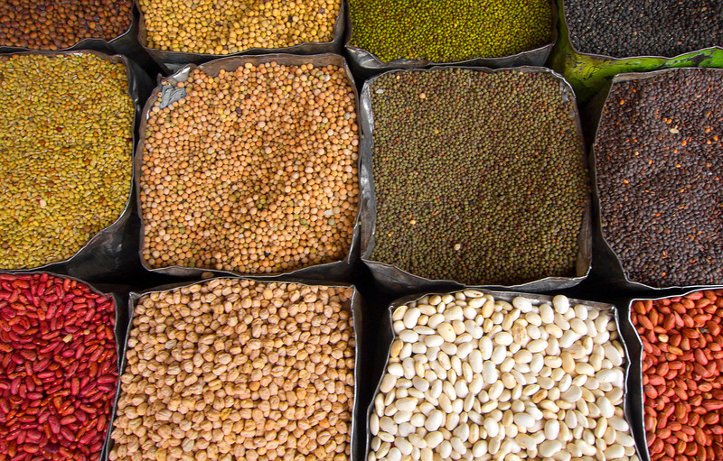 Beans and Lentils, Kathmandu - Nepal<br /> <br /> Dried lentils and beans, a common staple food for most Nepalis, occupy tattered tin bins in an open-air market, deep within the maze of the Thamel district of kathmandu.